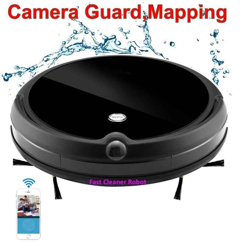 2018 Cámara protector videollamada eléctrica seca mojada Robot aspirador con mapa de navegación, WiFi App Control memoria inteligente, tanque de agua