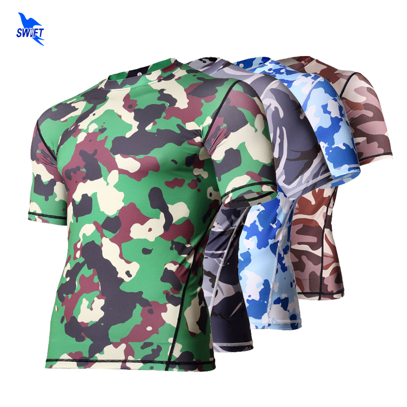 Gym Base Layer Camouflage Tactical T Shirt Mens Fitness Skinny Tights Crossfit Running Quick Dry Sports Compression Tops XXXL