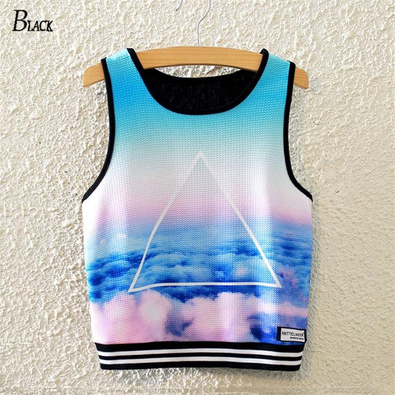 Black Brand Harajuku Sky Printed Crop Tops Women's Fashion Summer Tank Top Sleeveless Triangle Sky Blue Slim T-shirts