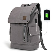 Canvas Men Backpack Anti Theft With USB Charging Laptop Business Unisex Knapsack Shoulder Backpacks Women Travel