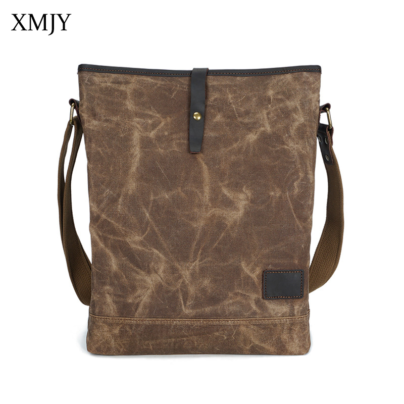 XMJY Mens Shoulder Bag Vintage Canvas Messenger bag Military Retro Travel Crossbody Bags Large Capacity Can Put in 14inch Laptop augur men s messenger bag multifunction canvas leather crossbody bag men military army vintage large shoulder bag travel bags
