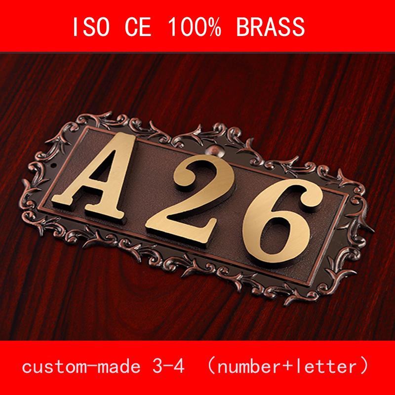 CE ISO 3-4 digit Number of House Room Gate Classic 100% Brone Brass Custom-made Number Letter Customized Hotel Door Plate Hotel 2016new room house number free shipping number bar number coffer shop number door part