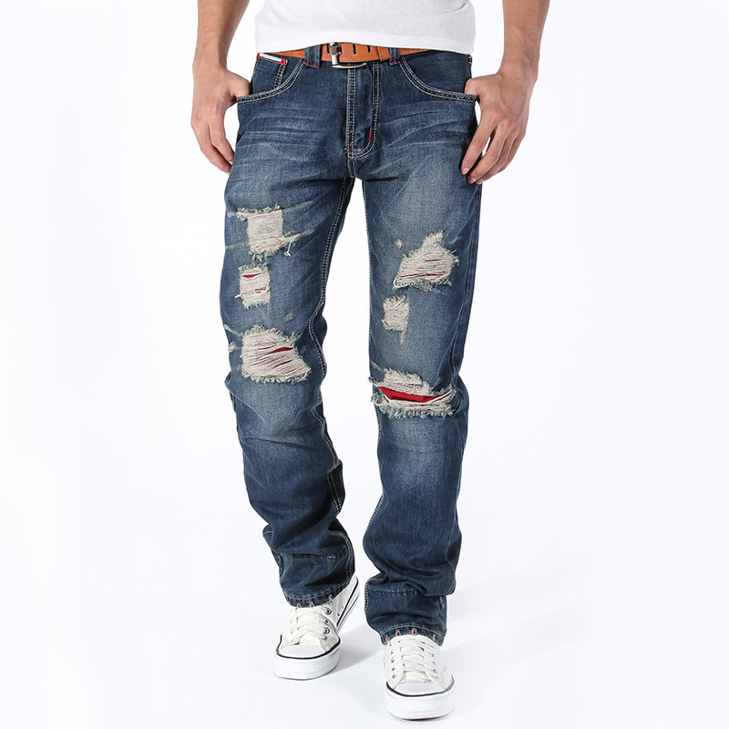 ФОТО Hot Sale Autumn And Winter Ripped Jeans Clothing 2016 Mens Jeans Brand Slim Straight  Men Mid Jogger Denim Pants Justin Bieber