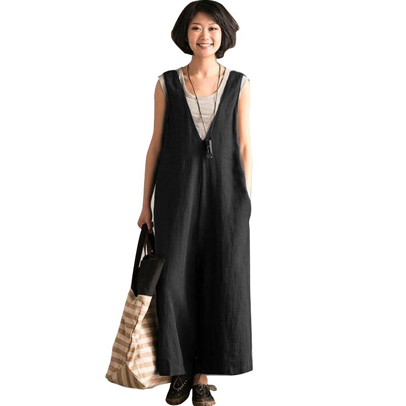 Women Plus Size V Neck Sleeveless Pockets Loose Jump-suit Ladies Casual Solid   Wide     Leg     Pants   Long Dungarees Cotton Loose Romper