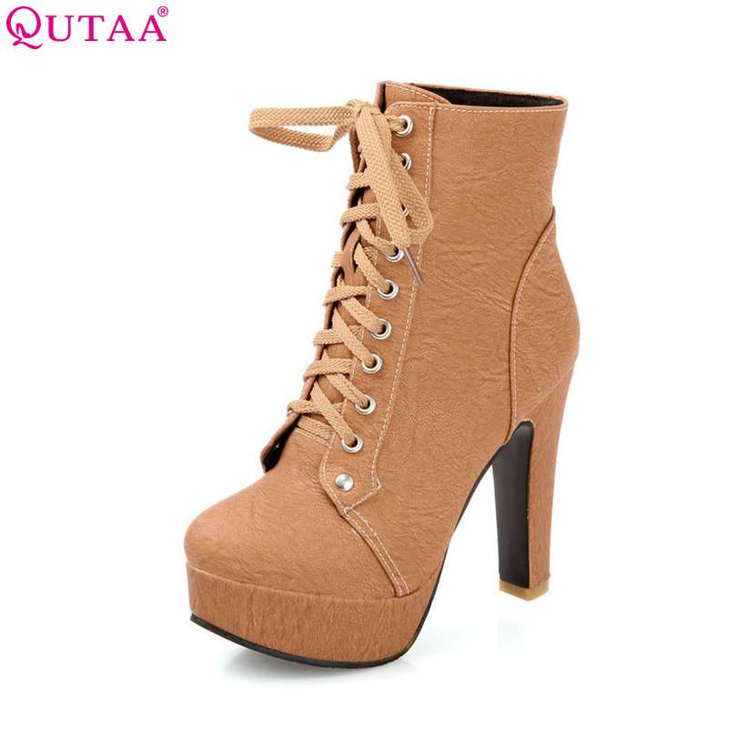 QUTAA Round Toe Brown Square High Heel Woman Ankle Boots Women Shoes PU Leather Lace Up Ladies Motorcycle Boot Size 34-43 enmayla winter autumn round toe low heel knee high boots women flats lace up shoes woman rider brown black suede motorcycle boot
