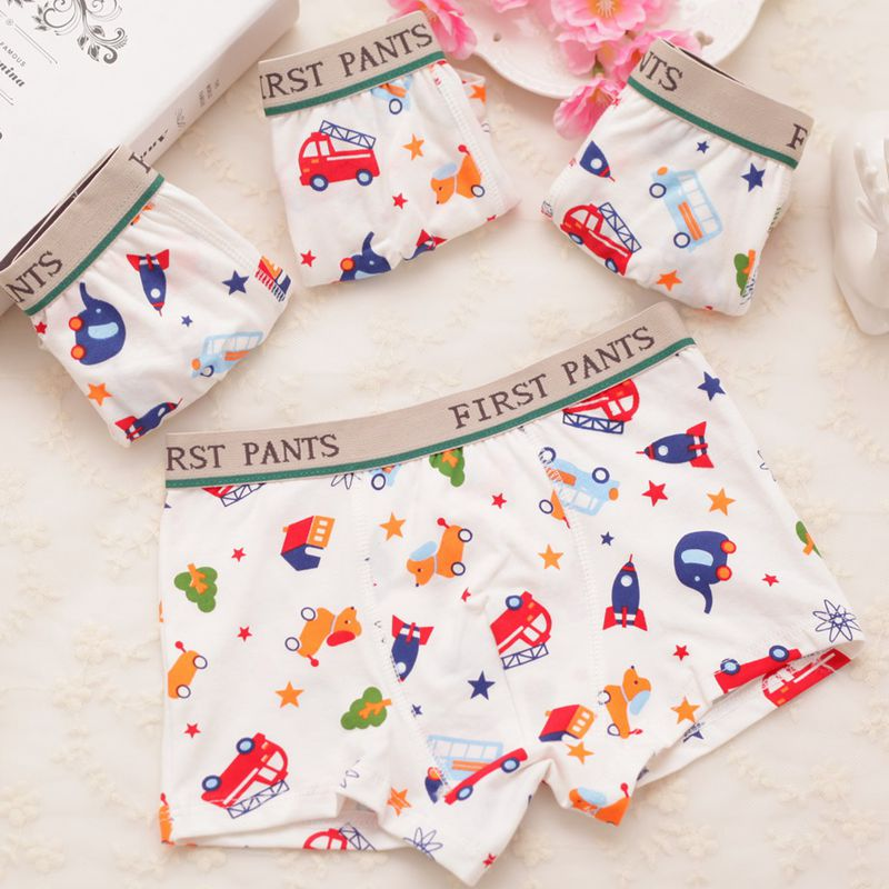 2 Pcs/lot 2-10T Quality Cute Car Printed Boys Underpants Cotton Boys Boxer Briefs Studen ...