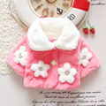Winter Autumn Baby Girls Faux Fur Floral Lapel Collar Princess Party Wear Infant Kids Outerwear Coats Cape cloak