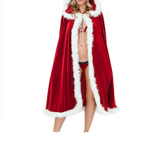 FLYMALL Women's Sexy Christmas Party Cosplay Costume Cloak 2017 Christmas Clothing Red Hooded Velvet Cape Mrs Santa Claus