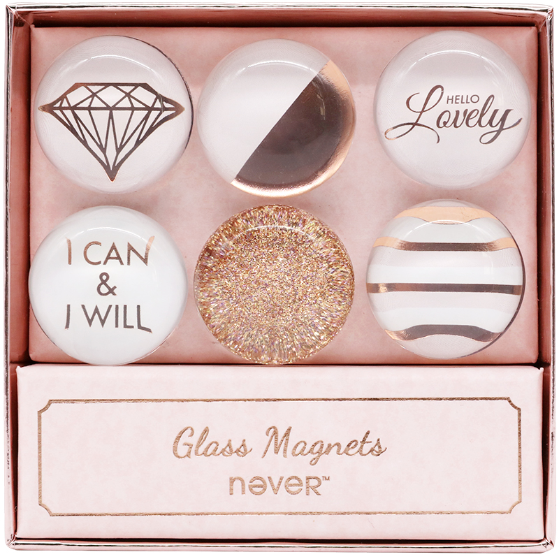 Never Rose Gold Glass Magnets Fashion Magnet Thumb Tack 6pcs/Set Stickers For Magnet Board Creative Stationery Office Decoration