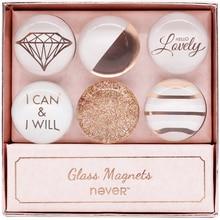 Не розовое золото стекло магниты мода Магнит ползунка 6шт/набор наклеек для доски креативные украшения канцелярские