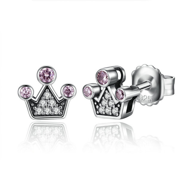 925 Sterling Silver Cute Stud Earrings For Children S Kids Baby Jewelry Pink Crystals Queen