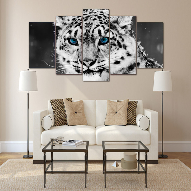 Hd Printed Snow Leopard Black White Picture Painting Wall Art Room