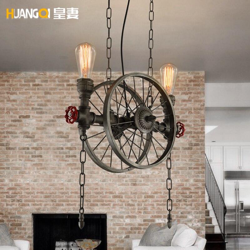 Loft Retro American Industrial Restaurant  Bar Iron Bar Wheel Chandelier