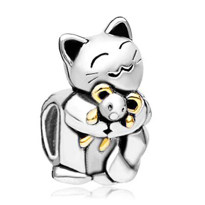 Fit Pandora charm bracelets Smiling Cat Charm Bracelet Hugging Mouse Charm Beads beads for jewelry making