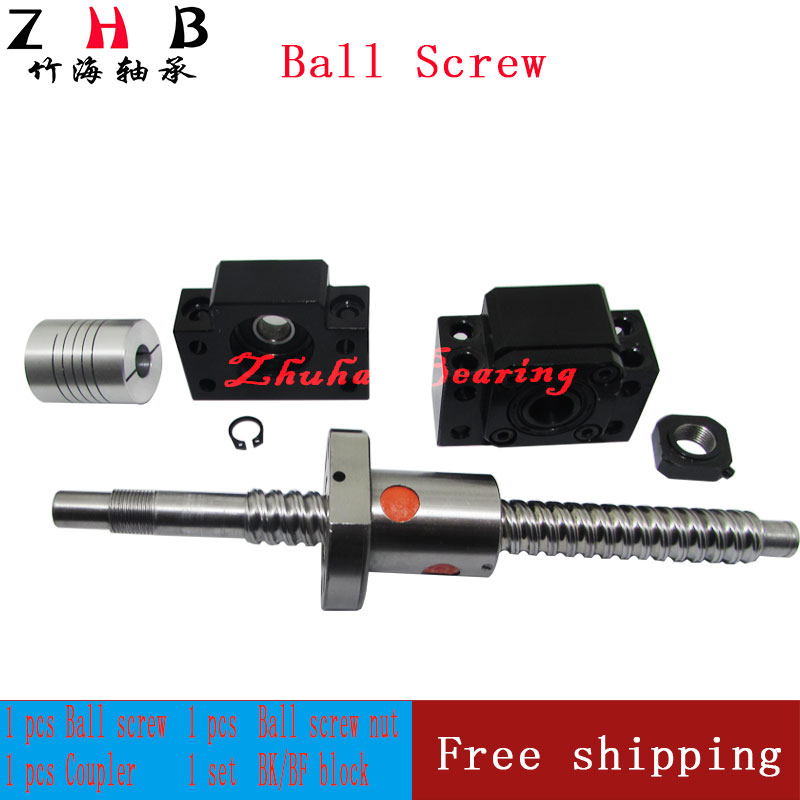 SFU1204 ball screw set : RM1204 L400mm with end machined +SFU1204 single ball nut + BK/BF10 end support + coupler for CNC parts reversible silver steel sfu1204 l600mm ball screw with single ballnut for cnc end machined