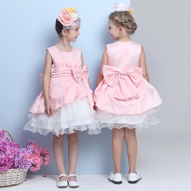 Elegante 2017 Vestidos de Niña de Color Rosa Arco Desgaste Del ...