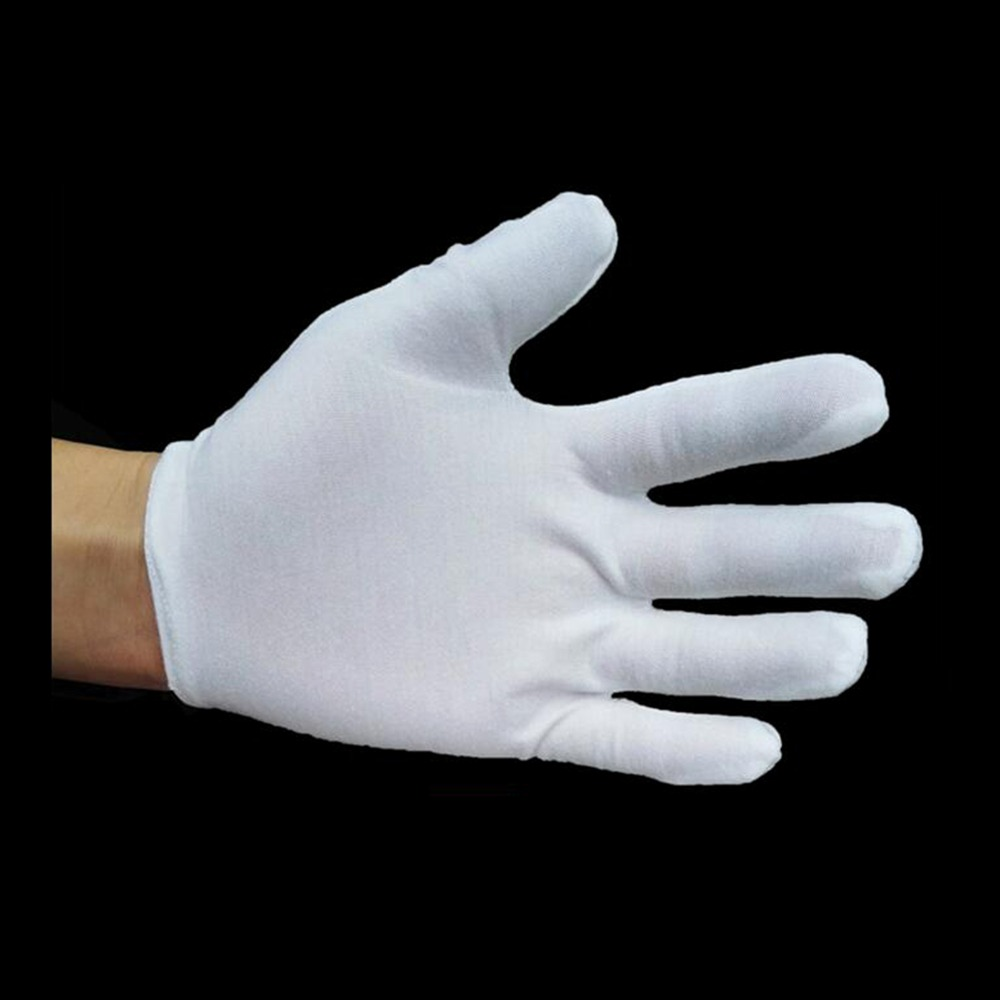 5 Pairs 10 Pcs White Work Jewellery Inspection Handing Costume Cotton Soft Thin Gloves for Waiter coin jewelry silver inspection in Household Gloves from Home Garden