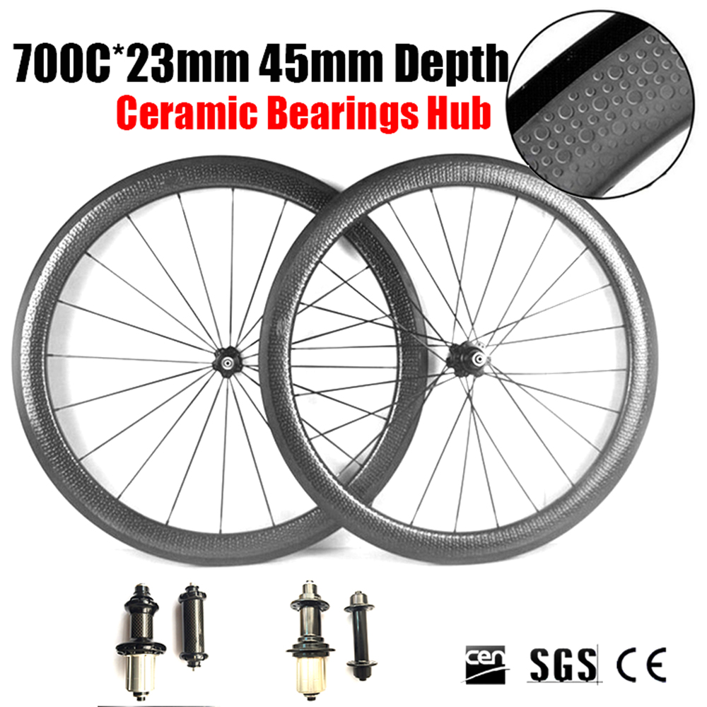 Ceramic Bearings Hubs Dimple Wheels 700C 45mm Depth 23mm Width Full Carbon Bike Bicycle Wheels Wheelset 3K UD Clincher Tubular mountain bike four perlin disc hubs 32 holes high quality lightweight flexible rotation bicycle hubs bzh002