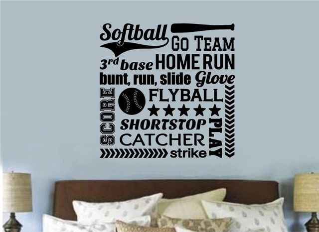 softball sports vinyl wall decal softball lettering word collage