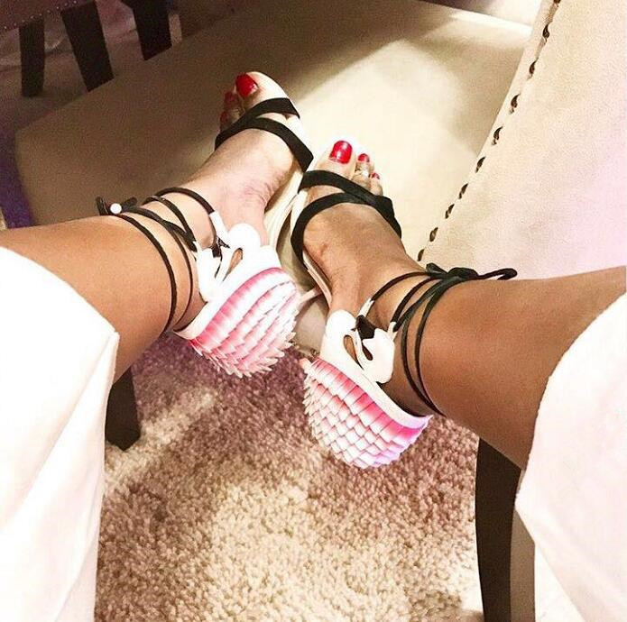 Summer Hot Pink Flamingo Ruffles Back Women Open Toe Sandals Black Suede Leather Straps Ladies Lace Up High Heels Wedding Shoes