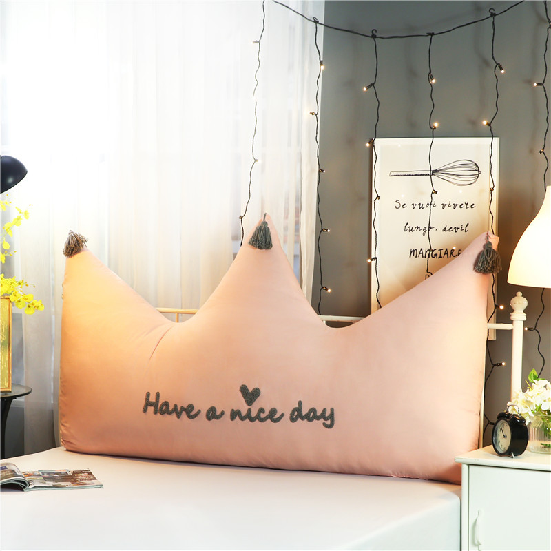 Big Bed Cushion Cotton Embroidery Soft Back Cushion Large Waist Support Pillow Home Textile Bedside Pillow