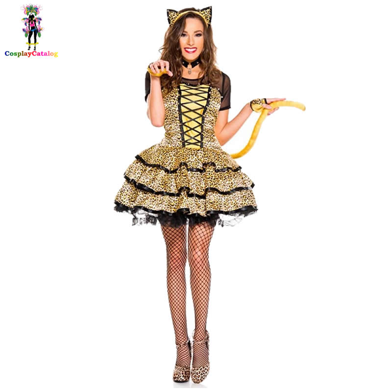 Halloween Party Adult Women Sexy Catwoman Costume Yellow Leopard Print Animal Cutie Costumes Cougar Kits Kitty Uniforms MLXL