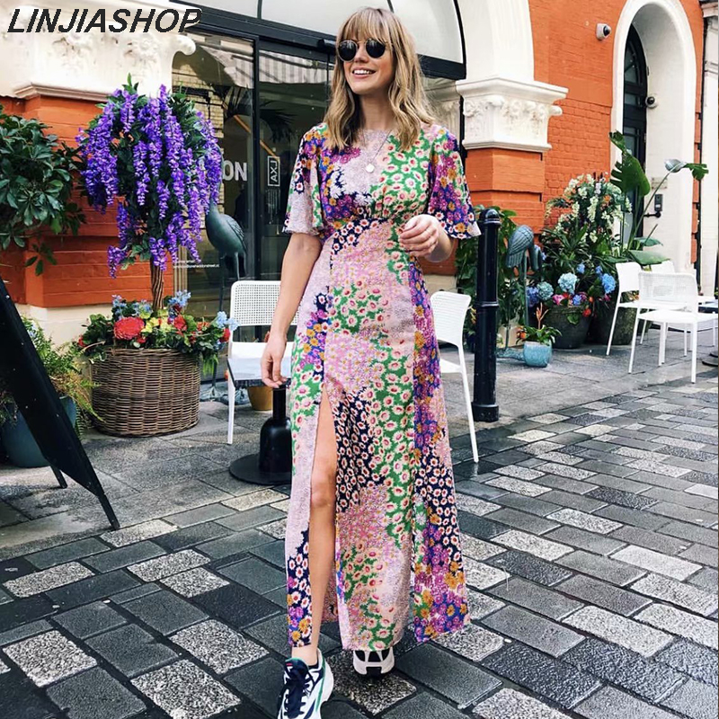Elegant Boho Print Hollow Out Summer Split Dress Women O Neck Patchwork Short Sleeve Plus Size Holiday Long Party Dress Festa
