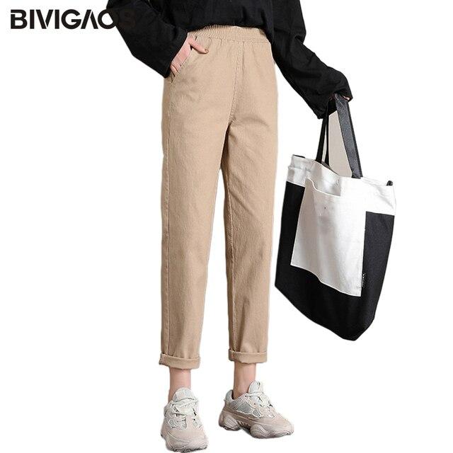 BIVIGAOS 2019 Spring New Womens Cotton Overalls Casual Ninth Harem Pants Ladies Radish Pencil Pants Vintage Loose Cargo Pants
