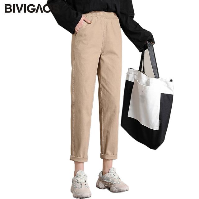 Bivigaos 2019 primavera nova womens algodão macacão casual nona harem calças senhoras rabanete lápis calças soltas calças de carga do vintage