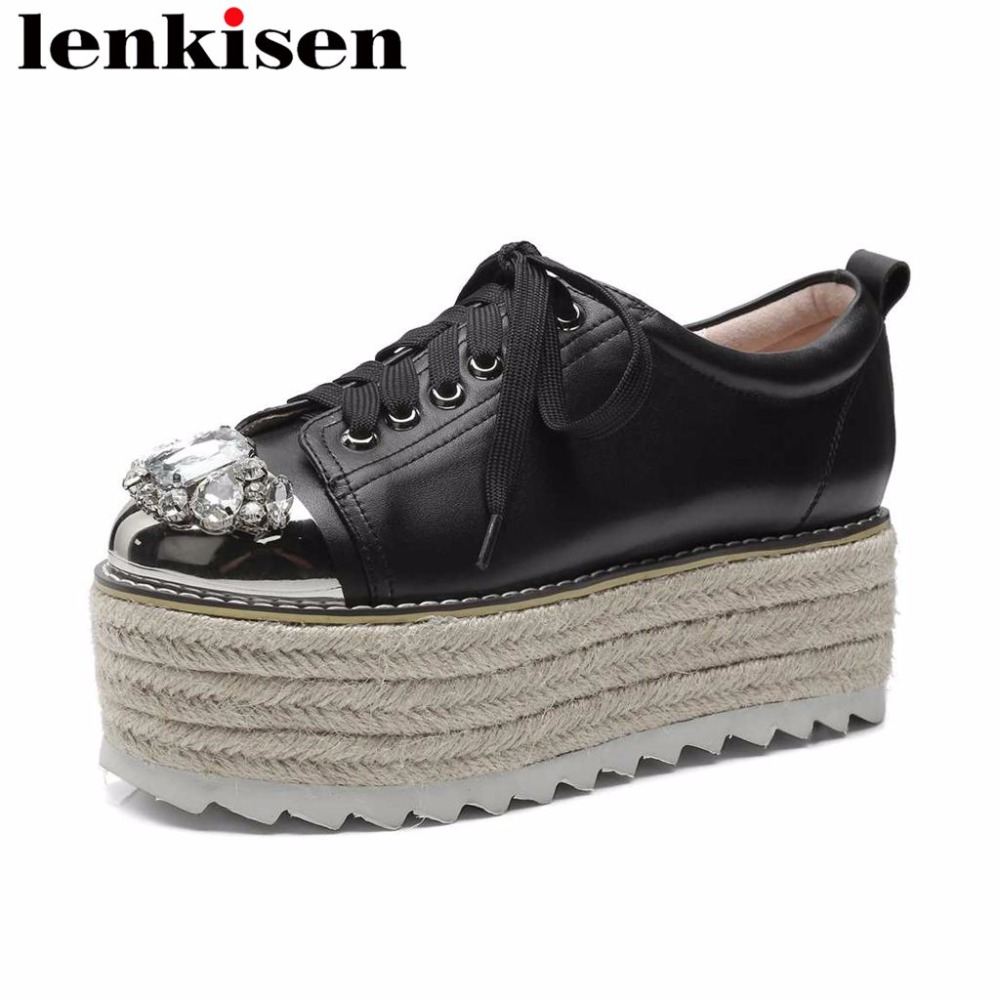 Lenkisen crystals thick high bottom wedges heels natural leather round toe lace up straw decoration feature women cozy pumps L10Lenkisen crystals thick high bottom wedges heels natural leather round toe lace up straw decoration feature women cozy pumps L10