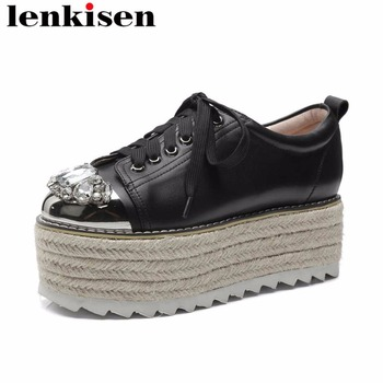 Lenkisen crystals thick high bottom wedges heels natural leather round toe lace up straw decoration feature women cozy pumps L10