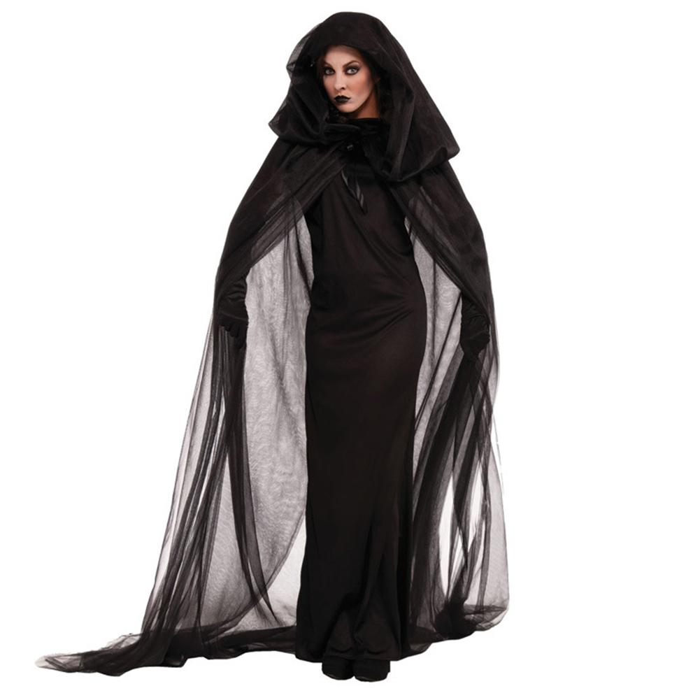 2018 Women Wandering Soul In The Night Size M-2XL Halloween Costumes Woman Ghost Party Role Playing Witch Cape Black Dress