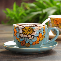 Features Retro Hand Painted Ceramic Cup Set European Style Coffee Cups Set