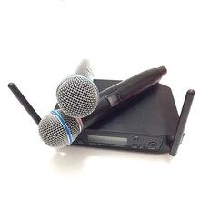 Frete grátis! Marca ETJ UHF Sistema de Microfone Sem Fio Duplo MICROFONE para a Fase Mais Canais do que SLX24 BETA58 GLXD4 E PGX24