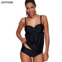 JOYMODE Two Piece Bikini Set Tankini Swimsuit Black Plus Size Bathing Suit Biquini Push Up Underwire