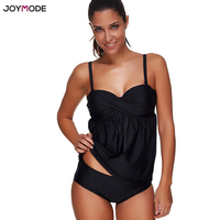 JOYMODE Two Piece Bikini Set Tankini Swimsuit Black Plus Size Bathing Suit Biquini Push Up Underwire
