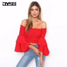 streetwear girl red yellow white slim tank tops big flare sleeve off the shoulder short rushed sun tops for ladies girls 81623# все цены