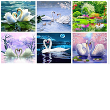 diamond embroidery swan,full embroidery,painting rhinestones,diamond painting swan
