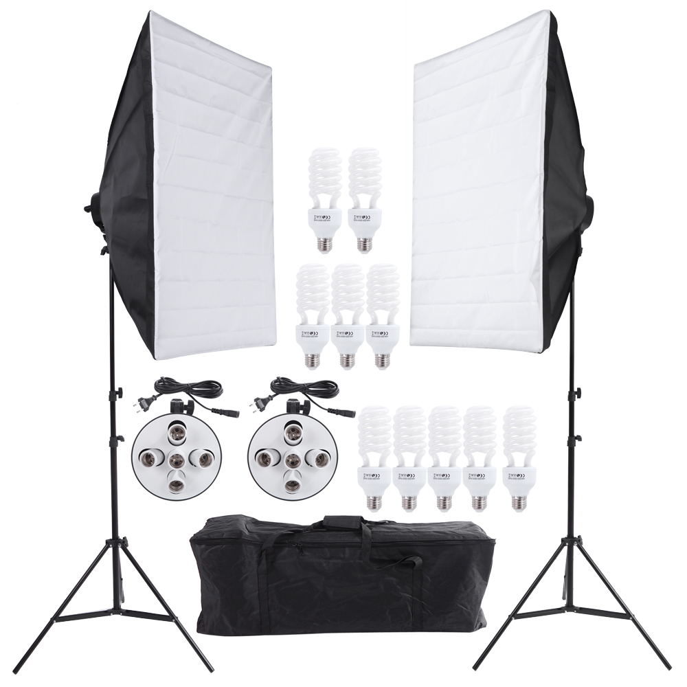 Andoer Photo Studio Kit Video Continuous Lighting Kit Photography Light Stand Two 50 70cm Softbox Ten