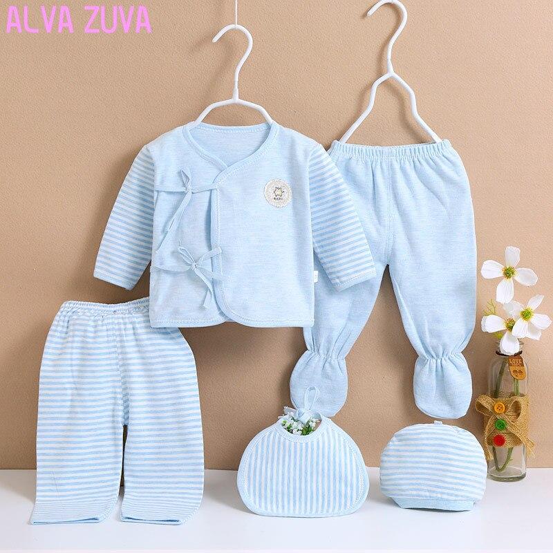 ALVA ZUVA Newborn Underwear Cotton Clothes Infant Baby Monk Clothing Sets For 0-3 Months 4 Season Cyf039