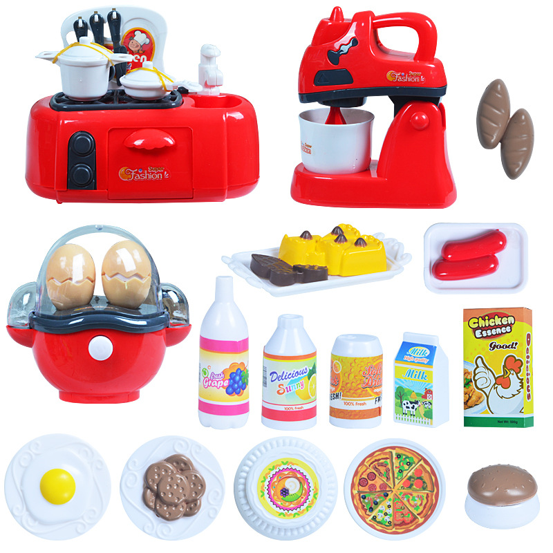 [Funny] Play house toy funny kitchen toy set Happy chef cooking food game coffee machine ...