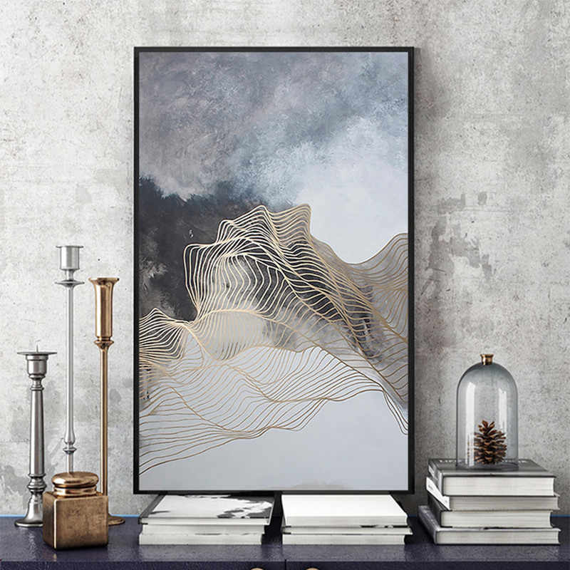 Modern simple abstract print ink gold lines Canvas Painting Picture Wall Art Wall Pictures For Living Room Home Decor No Framed