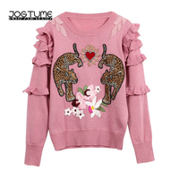 JOGTUME Women Sweaters 2018 Spring Winter Flower Leopard Embroidery O Collar Ruffles Full Sleeve Ladies Fashion