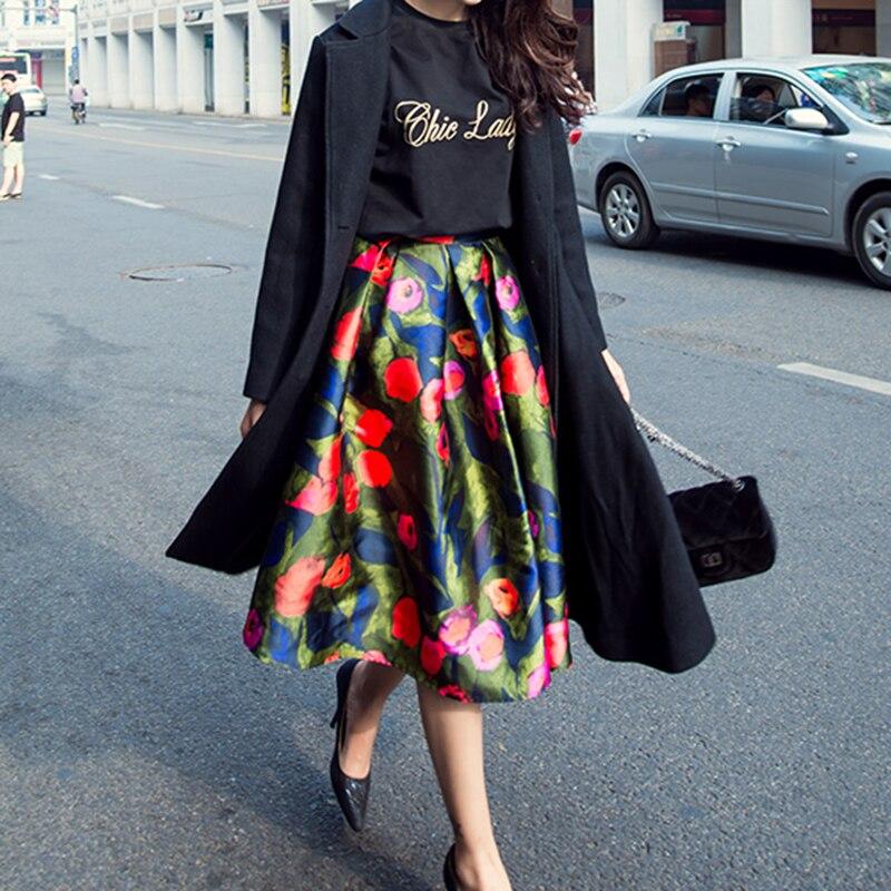 Fashion Women's new printing large pendants retro high waist pleated poncho skirt