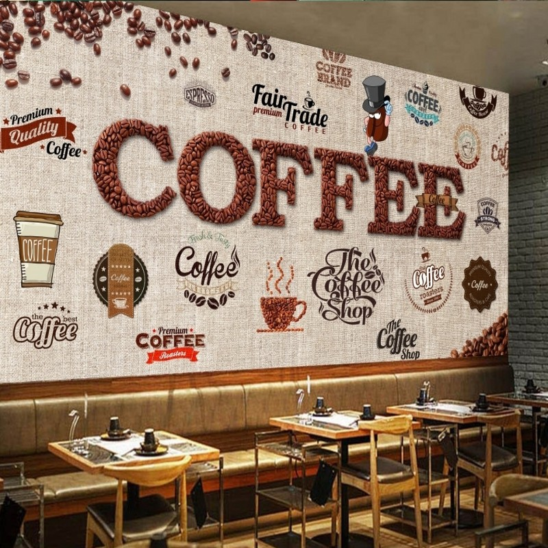 photo wallpaper Shading board retro coffee cafe label ...