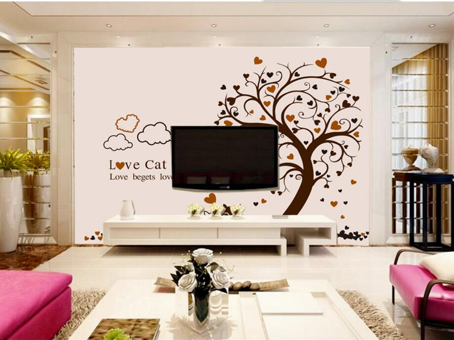 Custom large mural, Lovely cartoon tree cats wallpaper, living room TV backdrop sofa wall kids room 3d wall murals wallpaper custom large 3d wallpaper for wall 3d mural wallpaper tv backdrop sofa painting wall chinese style wallpaper for living room
