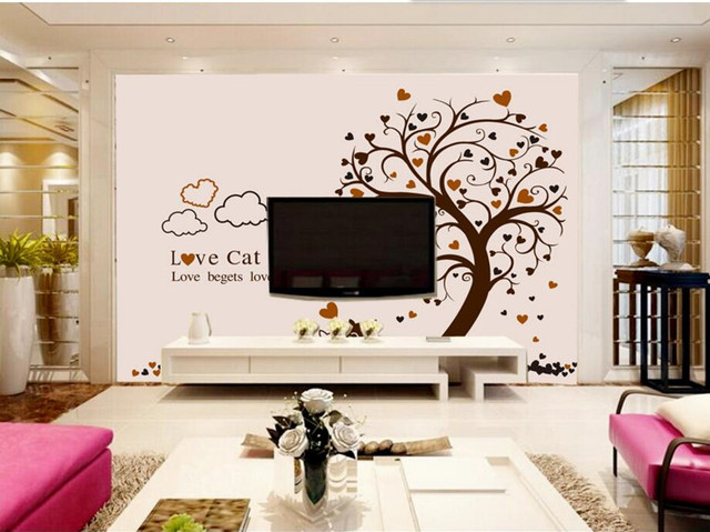 Custom Large Mural Lovely Cartoon Tree Cats Wallpaper Living Room
