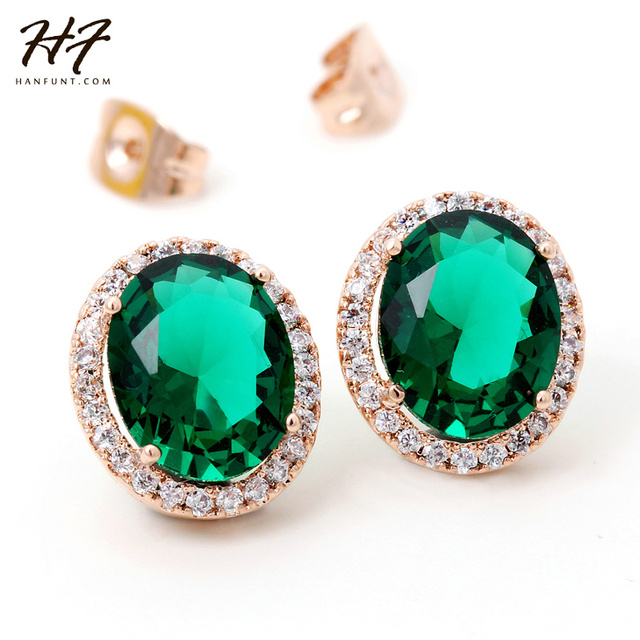 Top Quality E767 Luxury Green Crystal Earrings Rose Gold Color