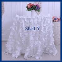 CL018A Gorgeous แฟนซีงานแต่งงานรอบกลีบสีขาว taffeta ผ้าตาราง