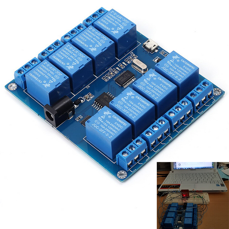 DC 5V 10A 8 Channel Micro USB Relay Indicator Board Module PC Upper Computer ICSE014A Software Control